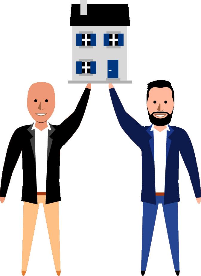Illustation Arnaud et Matthieu portant une maquette de maison