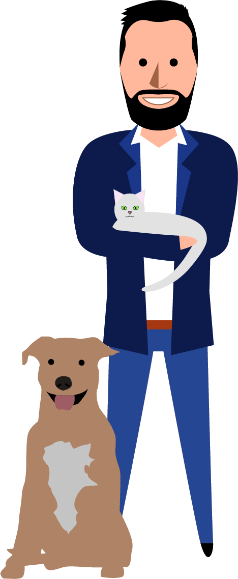 Illustation Matthieu avec un chien et un chat